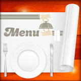 Served table with menu. Silver cutlery on wooden and paper. Vector illustration Stock Photos