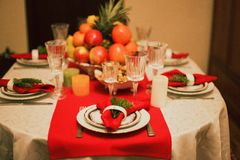 Served table for the new year royalty free stock images