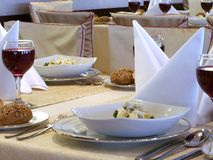 Served table with red wine at restaurant Royalty Free Stock Photo