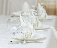 Served table in restaurant. Serving of table for a supper in a restaurant Royalty Free Stock Photo