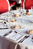Served table in restaurant Stock Photo