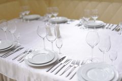 Served table in restaurant Stock Photography