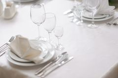 Served table in restaurant Stock Images
