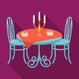 Served table in the restaurant. Furniture single icon in flat style Isometric vector symbol stock illustration web. Served table in the restaurant. Furniture Royalty Free Stock Photos