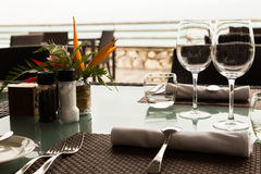 Served table in the restaurant Royalty Free Stock Photos
