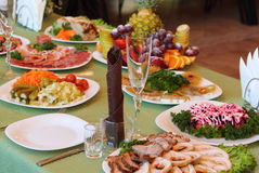 Served table in the restaurant Stock Images
