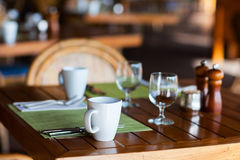 Served table at restaurant Stock Images