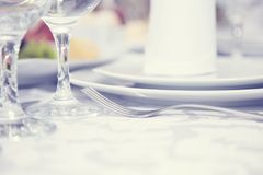 Served table in a restaurant Royalty Free Stock Images