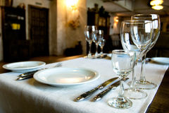 Served table. In the restaurante Royalty Free Stock Photography