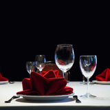 Served table. Romantic restaurant interior with a Royalty Free Stock Image