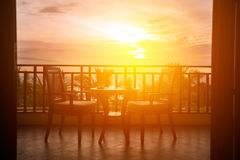 Served table with romantic view to sea Royalty Free Stock Photos