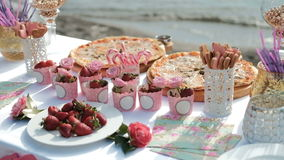 Served table by sea for banquet on fresh air outdoors. Menu includes assortment of cold dishes, snacks, various drinks. Vases with fruits flowers set along stock video