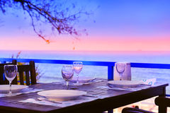 Served table on the sea shore Royalty Free Stock Photos