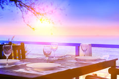 Served table on the sea shore. Stock Photography