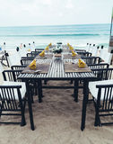 Served table on the sea shore. On island Stock Photos