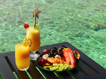 Served table at tropical resort stock photography