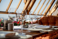 Served table on the veranda Stock Images