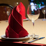 Served table. wine glass and cutlery Stock Photos