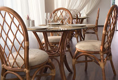 Served tables. The served tables and chairs at restaurant Royalty Free Stock Image