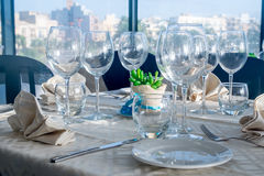 Served tables in luxury restaurant Royalty Free Stock Image