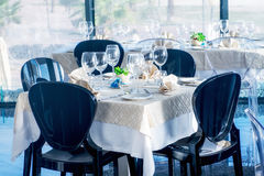 Served tables in luxury restaurant Stock Photography