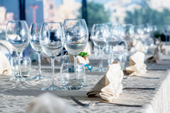 Served tables in luxury restaurant Stock Image