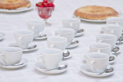 Served tea table Stock Photo