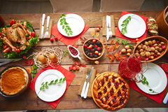 Served Thanksgiving table Stock Photography
