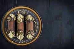 Traditional Italian dessert cannoli Royalty Free Stock Image