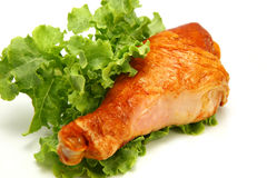 Served turkey leg and lettuce Royalty Free Stock Photo