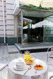 Served vegetarian breakfast table in the courtyard Royalty Free Stock Image