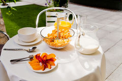 Served vegetarian breakfast table in the courtyard Royalty Free Stock Photography