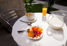 Served vegetarian breakfast table in the courtyard Royalty Free Stock Photo