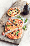 Served vegetarian pizza Stock Photography
