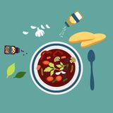 Served vegetarian soup with herbs Royalty Free Stock Images