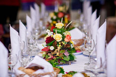 Served wedding table wedding banquet Royalty Free Stock Photos