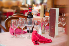 Served Wine restaurant table Royalty Free Stock Images