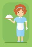 Serveerster in een blauwe kleding royalty-vrije illustratie