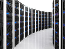 Server 3d background. 3d image of datacenter with lots of server Stock Images