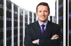 Server 3d e trabalhador Imagens de Stock