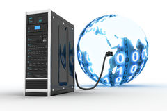 Server and binnary world. (done in 3d Royalty Free Stock Image