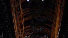 Server, cables. Ð¡omputers, data center. many cables, bottom view, moving camera. N stock footage