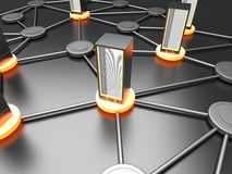 Server Cloud. Connected cloud of 19 inch server towers. 3D rendered illustration Stock Photography