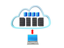 Server cloud with a notebook and red arrow Stock Photos