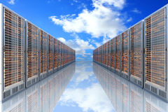 Server Cloud. Server racks in a row. 3d illustration Stock Images