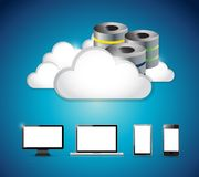 Server and clouds over a set go electronics Royalty Free Stock Image