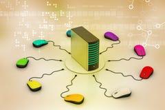 Server collegato topo del computer Fotografia Stock