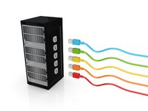 Server and colorful patch cords. Royalty Free Stock Photo