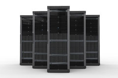 Server computer cluster. 3d rendering server computer cluster on white background royalty free illustration