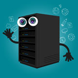 Server computer component database big data storage cartoon eyes mascot cute funny smile tech object vector stock illustration